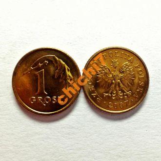 Польша. 1 грош 2007 г.