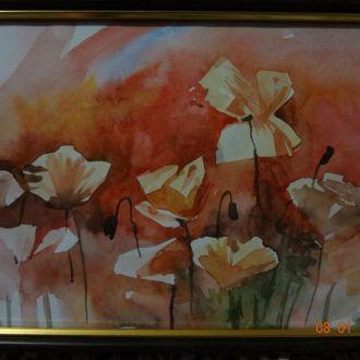 Картина Маки акварель 20Х30 в рамке