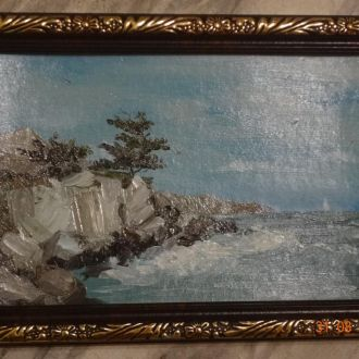 Картина  Море масло 16,5х12 в рамке