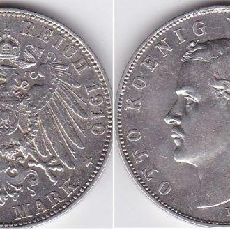 Германия - 3 Mark 1910 -D серебро VF+ Отто Бавария