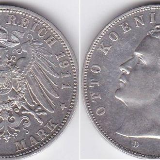 Германия - 3 Mark 1911 -D серебро VF+ Отто Бавария