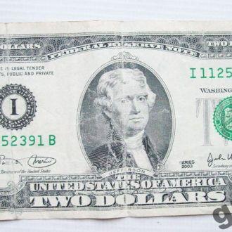 """2$ USA 2003г. СЕРИЯ """"I """"РЕДКАЯ!!!"""