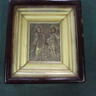 икона Афанасий Афонский и Иван воин серебро