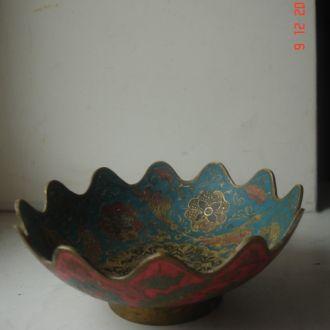 Конфетница бронза эмаль Индия 50е годы