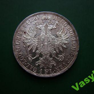 Австро-Венгрия 1 флорин 1861 А Серебро! UNC!