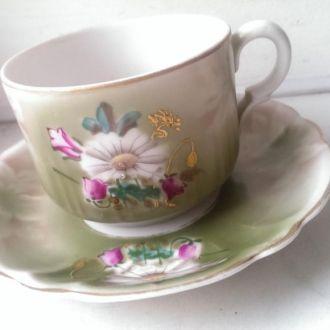Чайная пара фарфор ручная роспись 20-30е г цветы