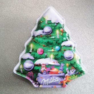 Жестяная коробка от конфет новогодняя елка