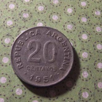 Аргентина 1951 год монета 20 сентаво !