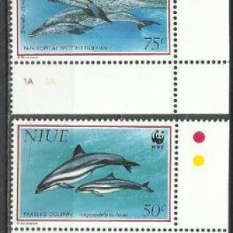 Ниуэ 1993 ВВФ фауна морская киты дельфины 4м.**