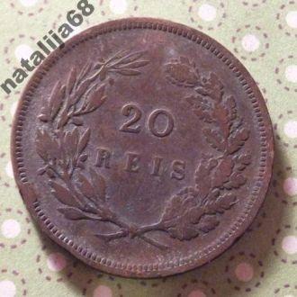 Португалия 1892 год монета 20 рейс