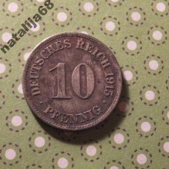Германия 1915 год монета 10 пфенингов J !
