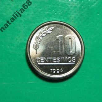 Уругвай 1994 год монета 10 сентесимо !