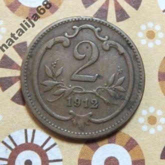 Австрия 1912 год монета 2 геллера !