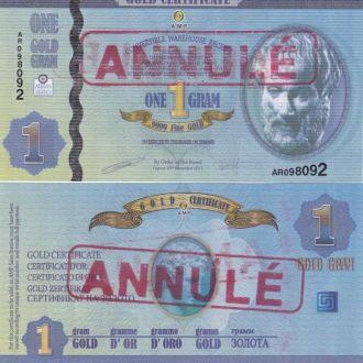 Cyprus Кипр 1 грам gold сертификат Annule 2011 UNC