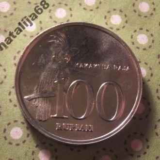 Индонезия 1999 год монета 100 рупий птица