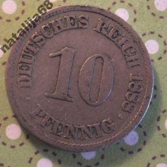 Германия 1888 год монета 10 пфенингов A