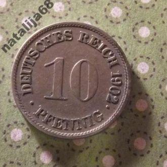 Германия 1902 год монета 10 пфенингов G