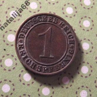Германия 1927 год монета 1 пфенинг A !