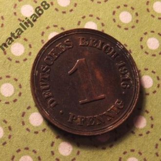 Германия 1916 год монета 1 пфенинг E