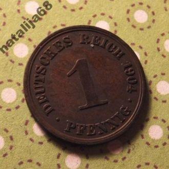 Германия 1904 год монета 1 пфенинг A !