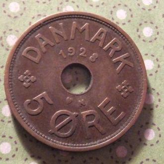 Дания 1928 год монета 5 эре