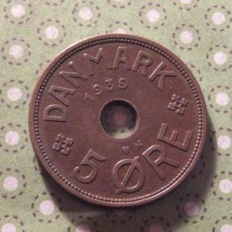 Дания 1939 год монета 5 эре !