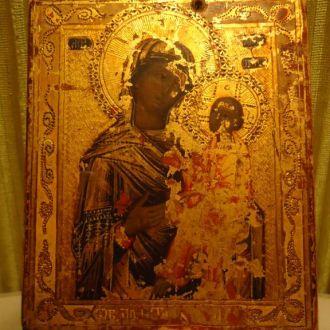 икона Тихвинская Б.М. Палех  Золотофонка