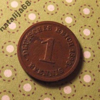 Германия 1896 год монета 1 пфенинг E !