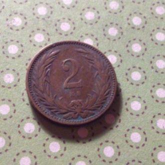 Венгрия 1894 год монета 2 филлера