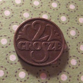 Польша 1928 год монета 2 гроша