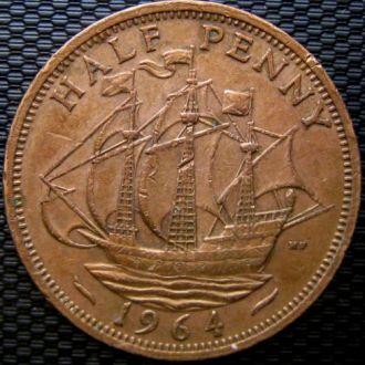 Великобритания 1/2 пенни 1964 год Парусник,Корабль