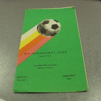 футбол программа динамо-кайрат 1986