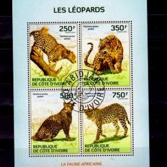 Фауна.Кот Д Ивуар.Леопарды. Лист. Г2