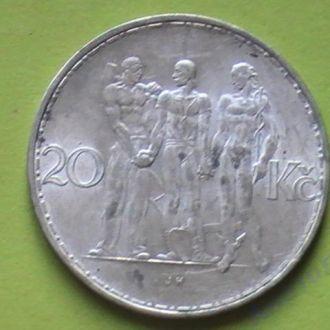 монета Чехословакия 20 Крон 1934 г Серебро