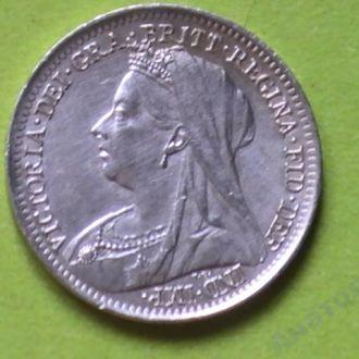 3 Пенса 1899 г Виктория Великобритания Серебро UNC