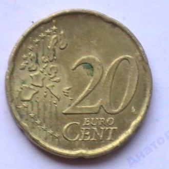 20 Евроцентов 2002 г D Германия 20 Центов 2002 р