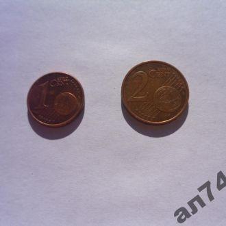 Эстония 1 и 2цента 2011г