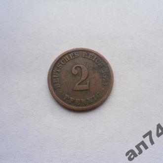 """Германия 2пфенинга 1874г""""А"""""""