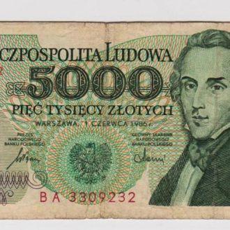 5000 ЗЛОТЫХ = 1986 г. = ПОЛЬША = серия ВA