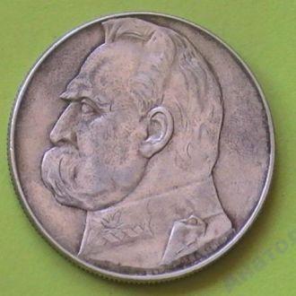 10 Злотых 1939 г Пилсудский Серебро Польша Сохран