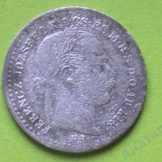 10 Крейцеров 1870 г КВ Австро-Венгрия Серебро