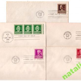 NM Личности США 1940 г - 5 конвертов