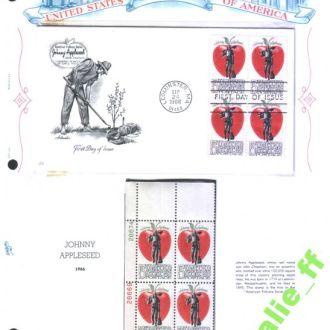 NM США 1966 г  MNH - кв.блок + КПД на листе