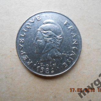Французская Полинезия,20 франков ,1984 год.