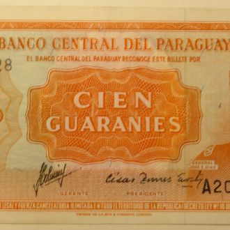 Парагвай/Paraguay 100 Pesos 1952 Pick 199b UNC