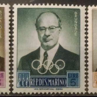 марки Сан Марино спорт личности старые MNH