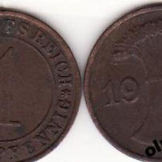 Germany / Германия - 1 Reichspfennig 1934-E VG OLM