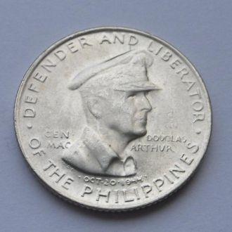 Филиппины 50 сентавос 1947 г серебро UNC