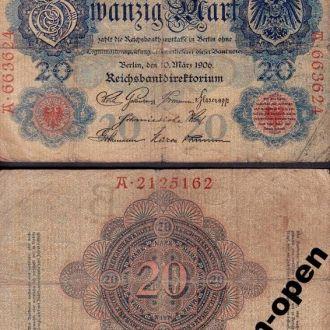 Germany / Германия - 20 Mark 1906 Ro. 24 - VF OLM