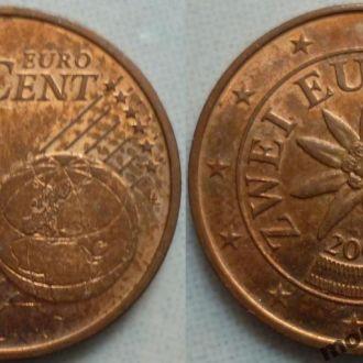 Австрия 2 евроцента  2002, 04, 08, 09